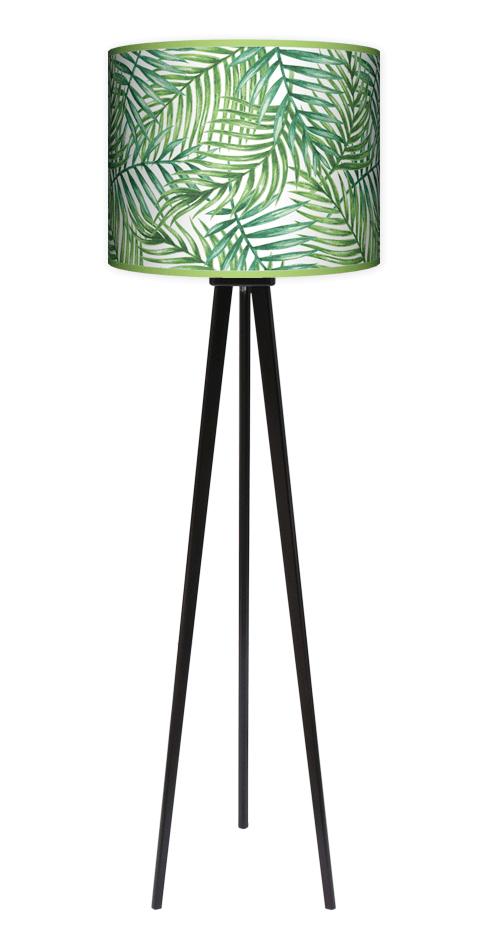Lampa podłogowa stojąca trójnóg drewniana duża zielona Palma